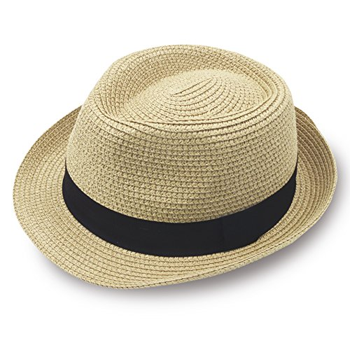 (Stynice Panama Hat Foldable Fedora Hats for Women & Men Short Brim Straw Hats Beach Sun Hat for Summer Vacation Jazz 55-58cm (One Size fits All, Beige-02))