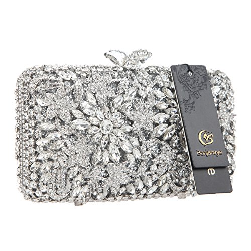 Bonjanvye Dressing Clutch Purse Rhinestone Silver for Crystal Women Flower Evening Match 6wrqSB6