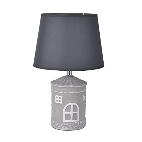 Cute Lamps Ceramic House Shaped Decor Lamp, Simple Table Lamp Desk Lamp For Kids  Room Living Room Gray With Bulb(Style 2)     Amazon.com