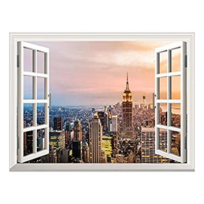 Removable Wall Sticker/Wall Mural - Beautiful City Skyline at Evening | Creative Window View Wall Decor - 36