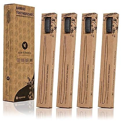 Caysense - Cepillo de dientes de bambú con cerdas de carbón negro