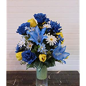 Cemetery Vase Flowers, Cemetery Arrangement with Blue Lilies, Flowers For Cemetery Vase 12