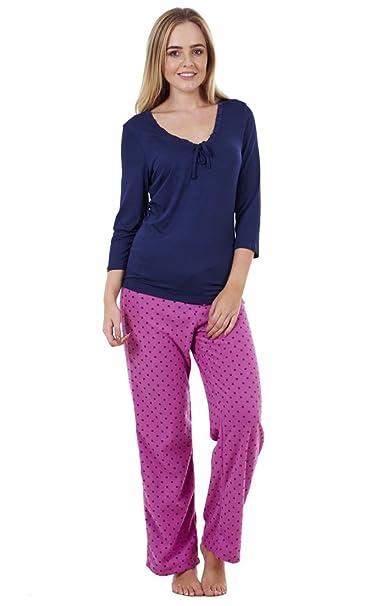 Juego de pijama de agradable estampado para señora Prenda de dormir de forro polar para mujer Pijama cálido de invierno: Amazon.es: Ropa y accesorios