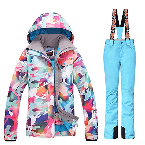 GS SNOWING Women Winter Waterproof Windproof Insulatd Snowboarding Jackets Ski Snow Coats and Pants Blue Medium