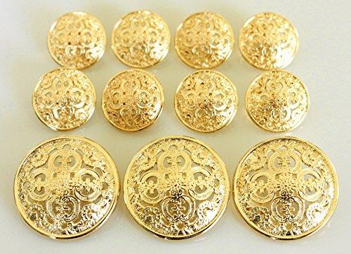 Vintage Gold Button (YCEE 11 Piece Gold Metal Blazer Button Set - Pierced Quadruple Club - For Blazer, Suits, Sport Coat, Uniform, Jacket)