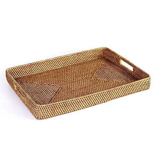 HandyMake Rattan Tray With Handles - Hand Woven Multipurpose Wicker Tray Made With Durable Rattan Fibre (Rectangular 17.5 X 13 Inches, ()