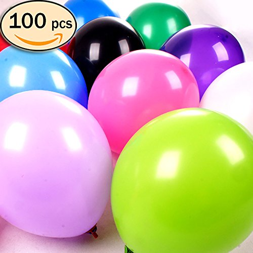 Best-Stuff 100 pcs Pack Assorted Color Latex Balloons 10