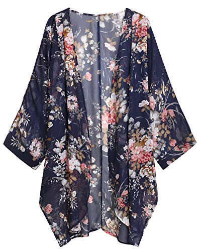 WEIYAN Women's Summer Tops Loose Chiffon Kimono Cardigan Beach Swim Cover up Blouse (Blue PFlower, ()