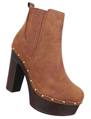38 Schuhe 39 37 Boots Plateau Camel Stiefeletten High Heels Damen Beige Grau 36 40 Schwarz P5xq7a7w