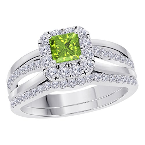 (Jewelryhub 2CT Princess Cut Cz Green Peridot 925 Sterling Silver Wedding Bridal Set Split Shank Halo Engagement Ring Set Size 4-12)