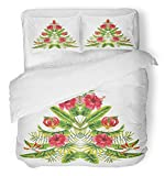 Emvency 3 Piece Duvet Cover Set Breathable Brushed Microfiber Fabric Painting Christmas Tree in Hawaii Mirror of Tropical Hibiscus Flowers and Palm Bedding with 2 Pillow Covers Full/Queen Size