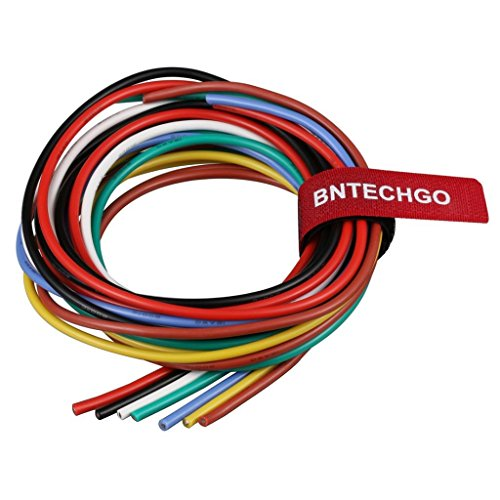 BNTECHGO 16 Gauge Silicone Wire Kit Ultra Flexible 7 Color High Resistant 200 deg C 600V Silicone Rubber Insulation 16 AWG Silicone Wire 252 Strands of Tinned Copper Wire Stranded Wire Battery Cable (White 16g Wire)