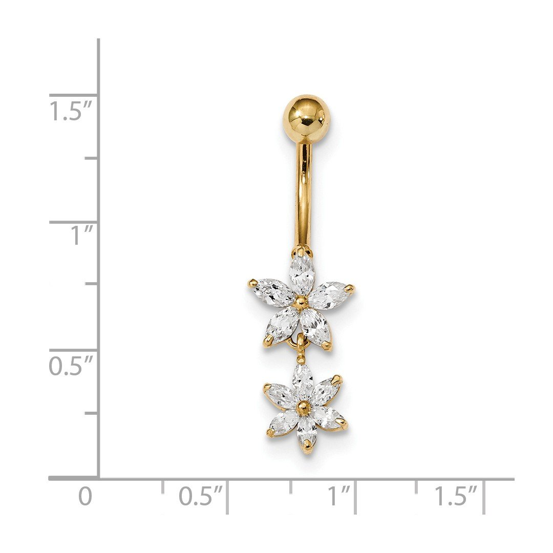 ICE CARATS 14k Yellow Gold Cubic Zirconia Cz 2 Flower Dangle Belly Band Ring Body Naval Fine Jewelry Gift Set For Women Heart by ICE CARATS (Image #2)