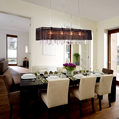 Dining Room Light Fixtures (LightInTheBox Modern Design Pendant Chandelier Light Fixture with 4 lights Fabric Shade Dining Room Living Room Bedroom)