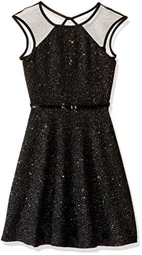 Sparkle Knit Dress (Zunie Big Girls' Illusion Sparkle Textured Knit Dress With Ribbon, Black, 7)