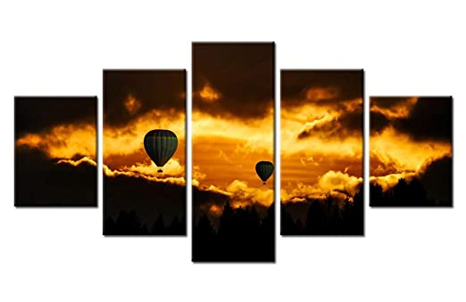 5 Unidades HD Print Golden Sunset Globo de Aire Caliente ...