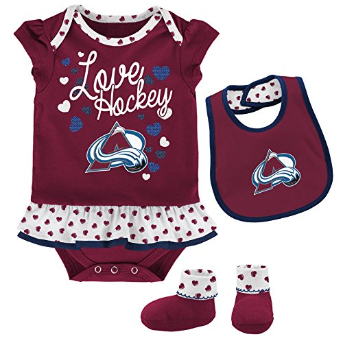 Outerstuff NHL Colorado Avalanche Children Girls Love Hockey Bib & Bootie Set, 24 Months, Burgundy