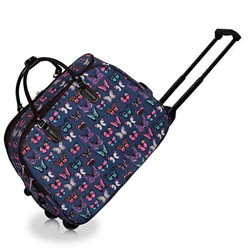 Bolsa de viaje, equipaje de mano para mujer, con ruedas para llevar como carrito Navy Butterfly S2