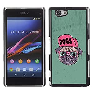 Stuss Case / Funda Carcasa protectora - Dog Pug Funny Art Swag Style Glasses Hipster - Sony Xperia Z1 Compact D5503