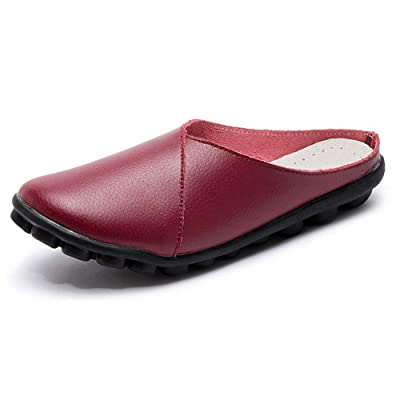 labato Women's Mules Slip-on Shoes Leather Clogs Flats Wallking Slipper   Loafers & Slip-Ons