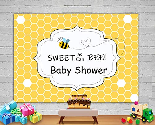 - Fanghui 7x5ft Sweet As Can Bee Baby Shower Backdrop Honeycomb Christening Baptism Bumble Bee Photography Background Newborn Boy Girl Birthday Party Banner Supplies Photo Booth Studio Props