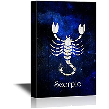 wall26 - 12 Zodiac Signs Constellation Canvas Wall Art - Scorpio - Gallery Wrap Modern Home Decor   Ready to Hang - 12x18 inches