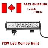 Topcarlight 12 inch 72W Cree Led Spot Flood Combo Light Bar Offroad Lamp SUV Boat Truck ATV Car 4x4 Jeep Driving Fog Light