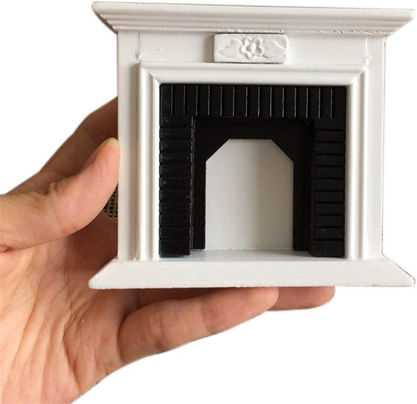 Rucan 1:12 Dollhouse Miniature Furniture Room Wooden Vintage Black White Fireplace