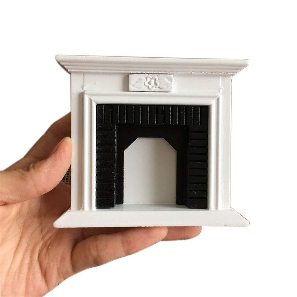 tianranrt 1: 12casa de muñecas en miniatura Muebles habitaciones de madera jahrgang Blanco y Negro Chimenea