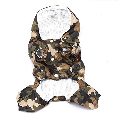 FuNi pet-apparel Rain Coat Clothes Camouflage Printed Casual Waterproof Jacket Costumes Outerwear for Small Dogs Puppy -