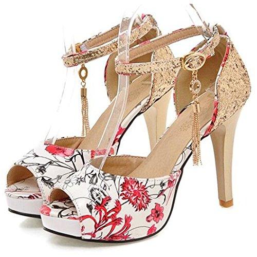 (Summerwhisper Women's Sexy Floral Sequined Ankle Strap Peep Toe Platform Stiletto High Heel Sandals Red 8.5 B(M) US)