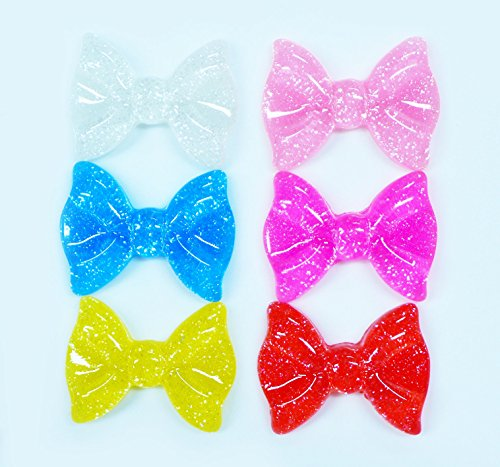 LOVEKITTY 6 pcs Glitter Bows Cute Resin Flat Back Kawaii Cabochons