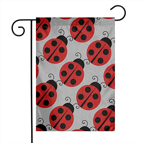 Flag Banner Ladybugs (PNNUO Spring Summer Welcome Garden Flag Lovely Ladybug Yard Flags Seasonal Holiday Festival Banner)