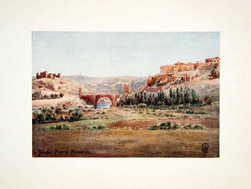 1906 Color Print Wigram Alcantara Bridge River Spain Arch Village Toledo Espana - Original Color - Colors Alcantara