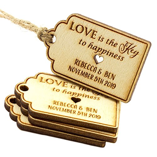 Happiness Wedding Favor - Summer-Ray 50pcs Mini Personalized Laser Engraved Wooden Wedding Royale Favor Tags Love is the Key to Happiness