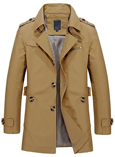 Coat khaki Chouyatou Collar Single Lightweight Slim 1306 Lapel Men's Fit Breasted Trench PPqAz