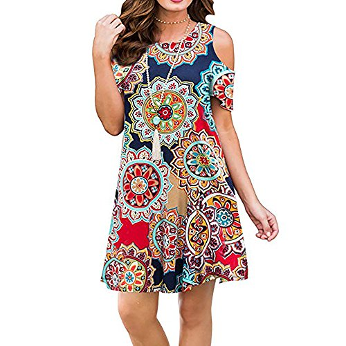 Tanst Sky Boho Dresses for Women, Knee Length Dress Timeless Cut Out Shoulder Scoop Neck Short Sleeve Vacation Clothes Flowy Curved Hem Novelty Design Sundress for Juniors Geometric Flower XL