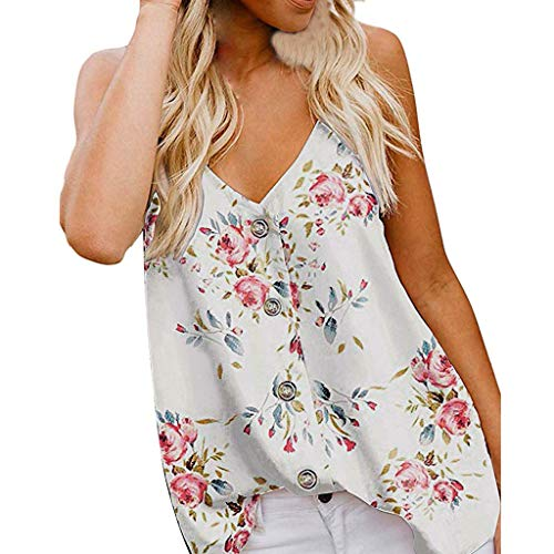 (Amlaiworld Womens Plus Size Tank Tops Camisole Top Sleeveless V Neck Button Floral Print Tee Top Loose Casual Shirts Blouse (2XL, White4))
