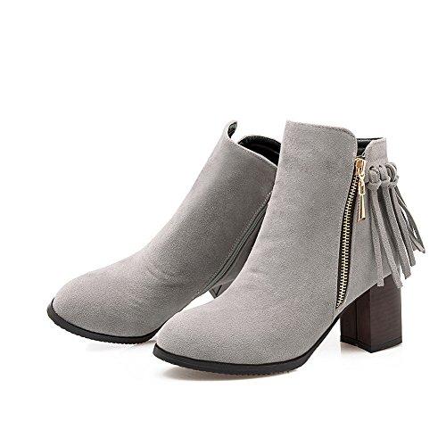 Chunky Heels Kitten Gray Frosted Tassels Womens Boots Heels AdeeSu xnZqzgwn