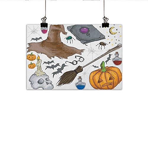 Littletonhome Halloween Modern Frameless Painting Magic Spells Witch