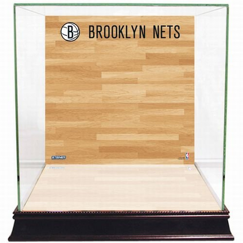 NBA Brooklyn Nets Glass Basketball Display Case with Team Logo on Court Background