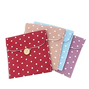 Honbay 4PCS Women Soft Cotton Blends Sanitary Napkins Holder Bags Pouches Storage Organizer