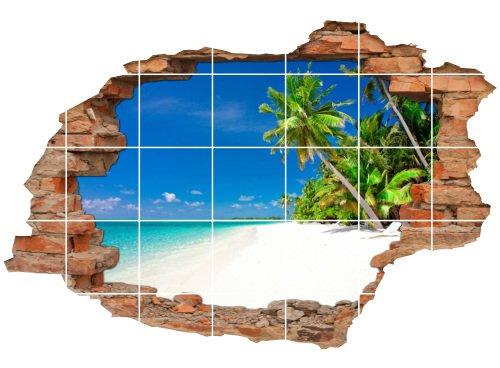 Fliesenaufkleber Fliesenbild Fliesenaufkleber Wanddurchbruch Strand Palmen Meer, 120x80cm, 15x20cm (BxH) (BxH) (BxH) B077GW2317 Fliesenaufkleber a727f5