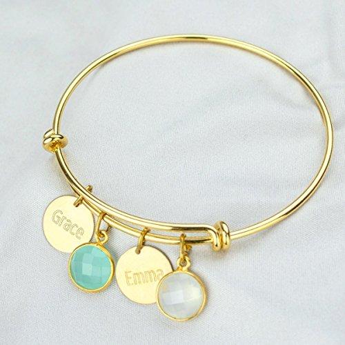 Adjustable Bangle with 10mm Birthstone Pendants and 13mm Engraved Disks, Mother's Birthstone Bracelet, Gift for Mother's Day, Grandma Bracelet, Mom Bracelet