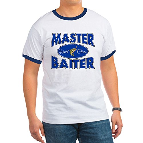 Royal Lion Ringer T-Shirt Fishing Master Baiter with Lure - Navy/White, (White Nm Master)