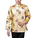 ACVIP Men's Lucky Coin and Dragon Brocade Long Sleeve Chinese Kung Fu Tang Jacket Shirt (US S / Chinese L, Gold)