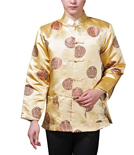 XueXian(TM) Men's Long Sleeve Chinese Style Qipao New Year Outfit Tang Suit (China XXL:Bust 48.81'',Yellow) by XueXian(TM) (Image #1)