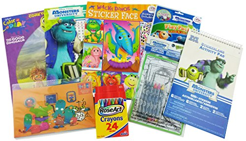 Monster / Dinosaur Bundle – 8 items The Good Dinosaur Color and Play, Wacky Dinos Sticker Face , Monster University, Word Search, 600 Stickers, Play Pack, Color a Puzzle and (Halloween Color By Number Printable Worksheets)