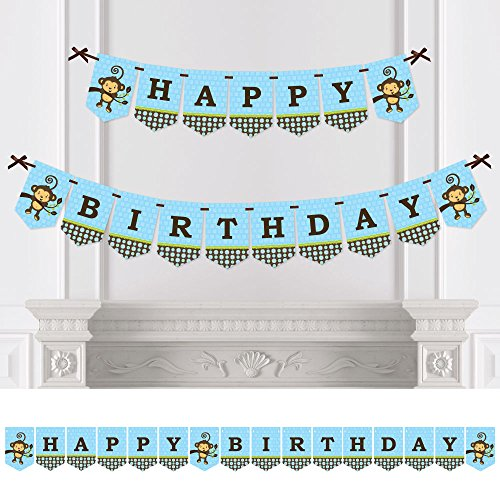 Big Dot of Happiness Blue Monkey Boy - Birthday Party Bunting Banner - Blue Party Decorations - Happy Birthday