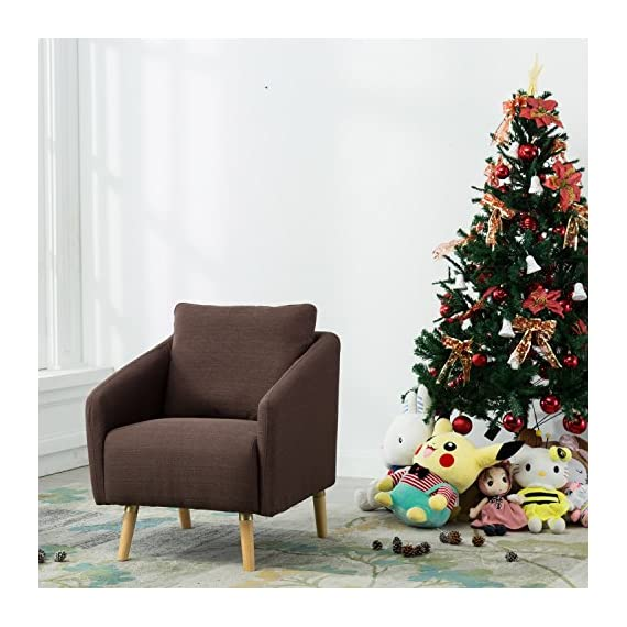 BONZY Accent Chair Mid-Century Style for Living Room Durable Frame - Light Brown -  - living-room-furniture, living-room, accent-chairs - 51QG1yh6C8L. SS570  -